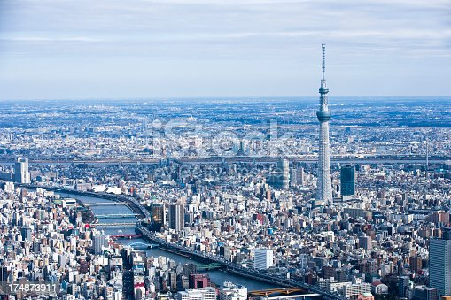 Sky tree and river scenery.