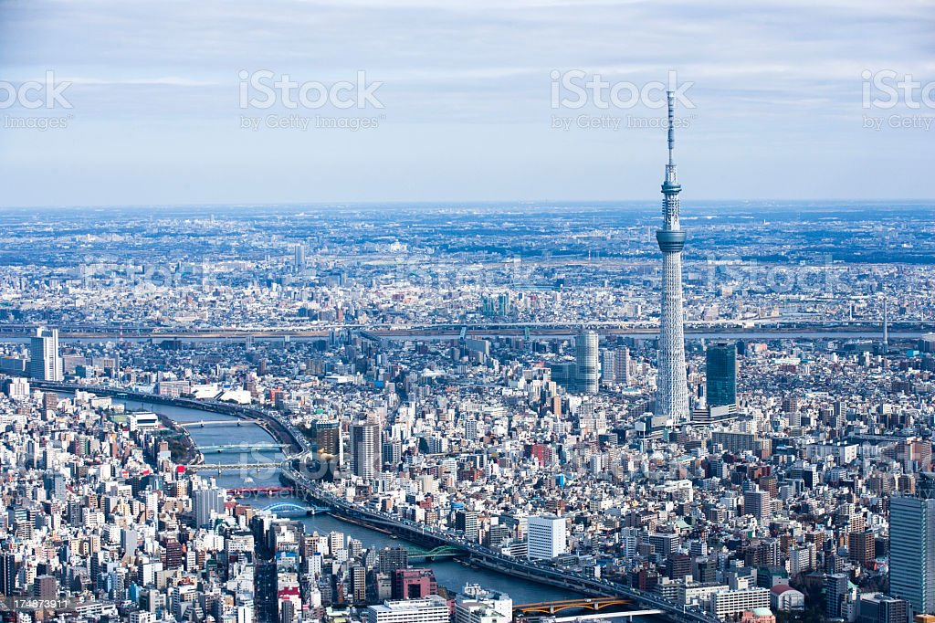 TOKYO SKYTREE and river scenery. stock photo