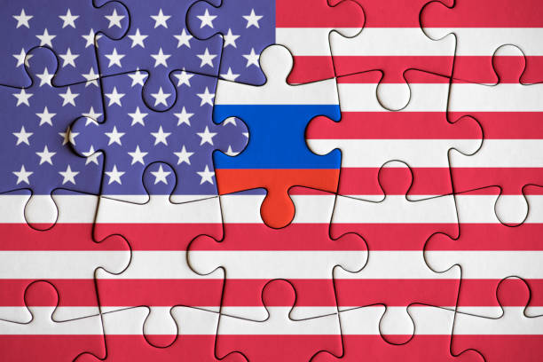 USA and Russia Political Concept Image stock photo