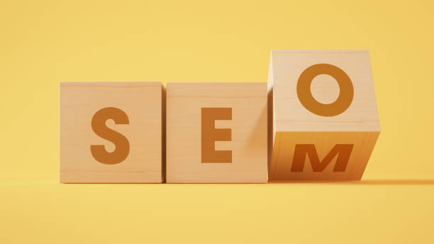 SEO and SEM wood cubes 3d rendering stock photo