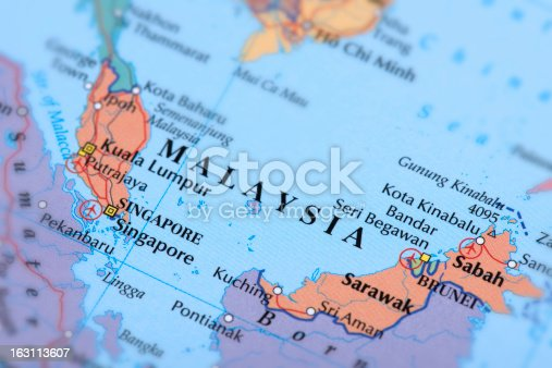 Map of Malaysia and Singapore.