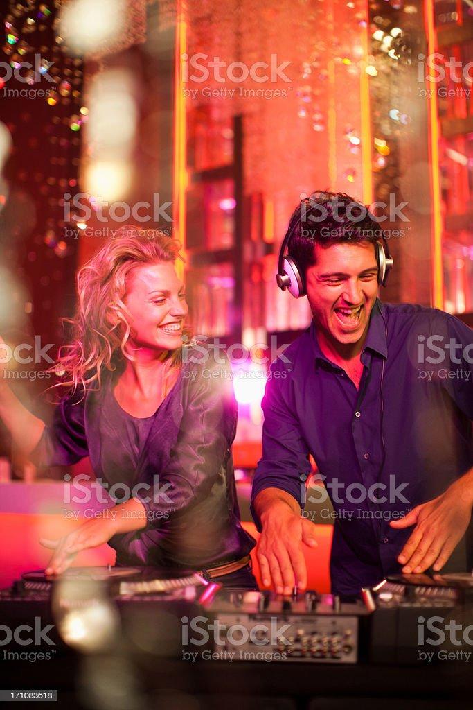 DJ and singer in nightclub stock photo