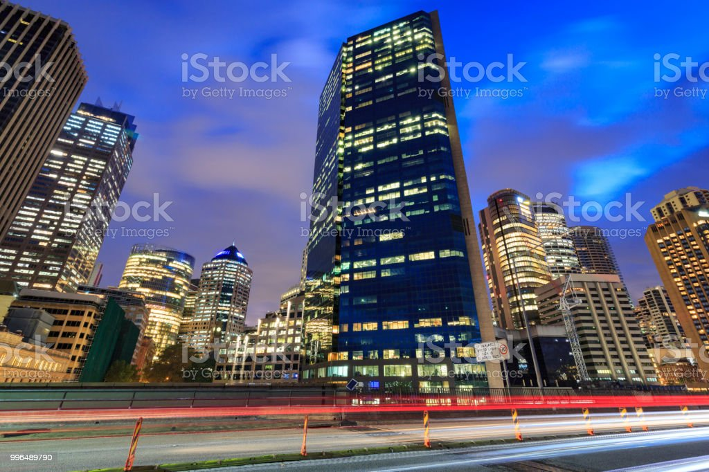 CBD and skyline showing offices and traffic in Sydney, Australia stock photo