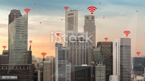 istock IOT and Smart City Concept Illustrated by Wireless Networking Wifi 637313634