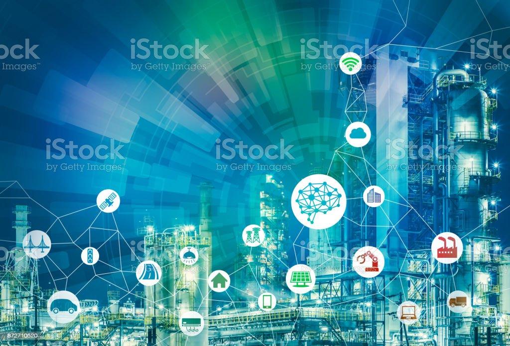 IA (Intelligence artificielle) et smart factory. Abstrait technique mixte. - Photo