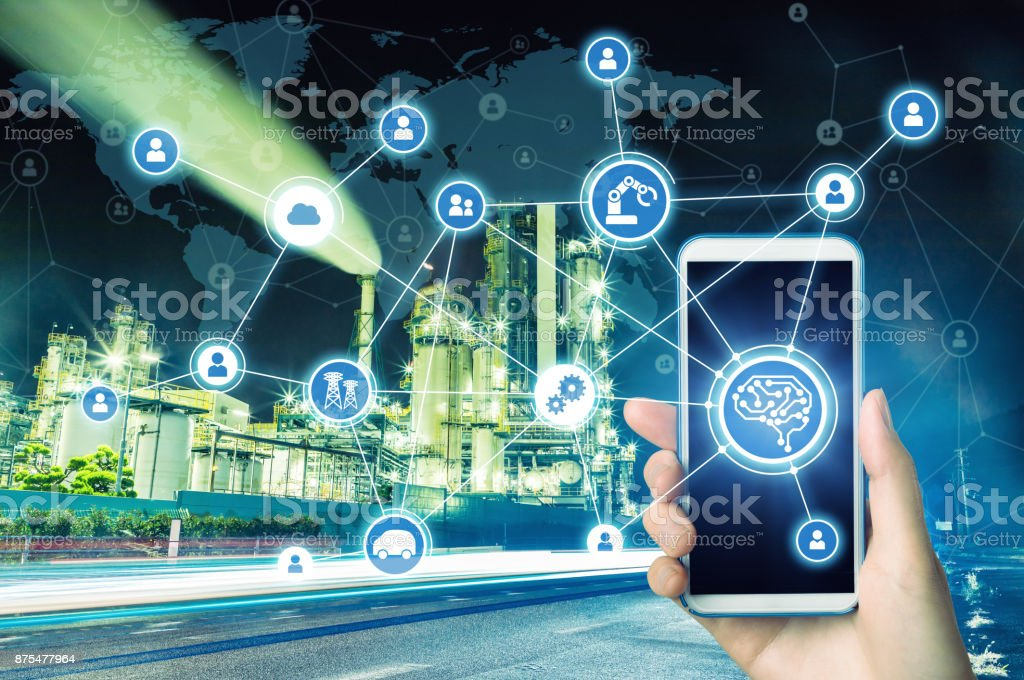 AI(Artificial Intelligence) and smart factory. Abstract mixed media. stock photo
