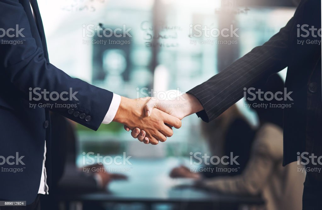 And so the deal was sealed Cropped shot of a businessman and businesswoman shaking hands in a modern office Adult Stock Photo