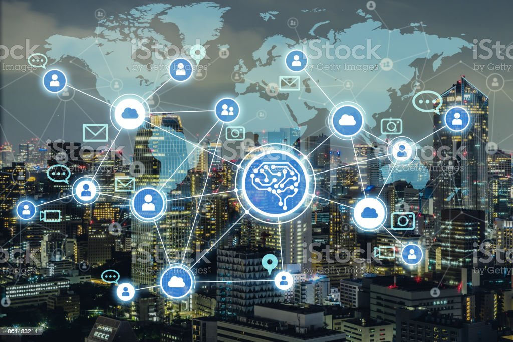 AI(Artificial Intelligence) and social media. stock photo