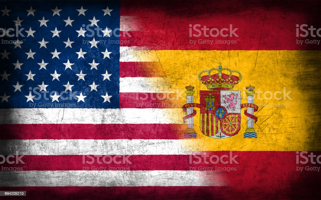 USA and Spain flag with grunge metal texture - foto stock