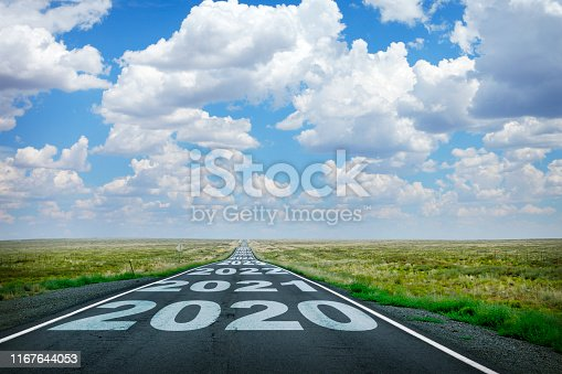 The year 2020 and subsequent years are painted on to a long straight rural highway that disappears at the horizon under a canopy of cumulus clouds.