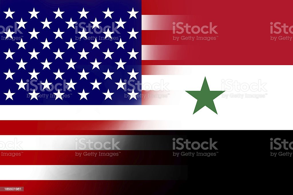 USA and Syria Flag royalty-free stock photo