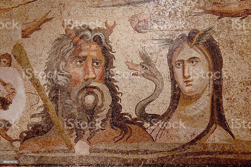 OCEANOS and TETHYS ancient mosaic royalty-free stock photo