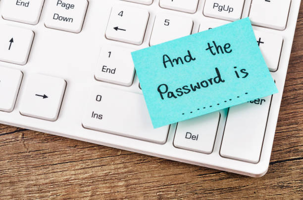 And the password is text on sticky note. stock photo