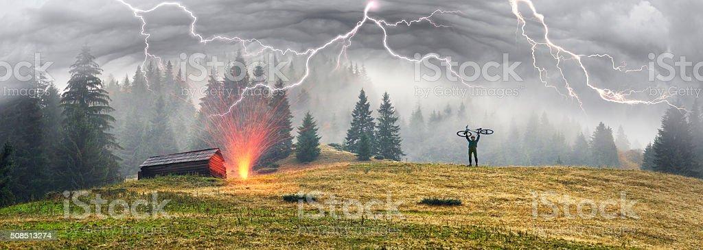 MTB and thunder stock photo