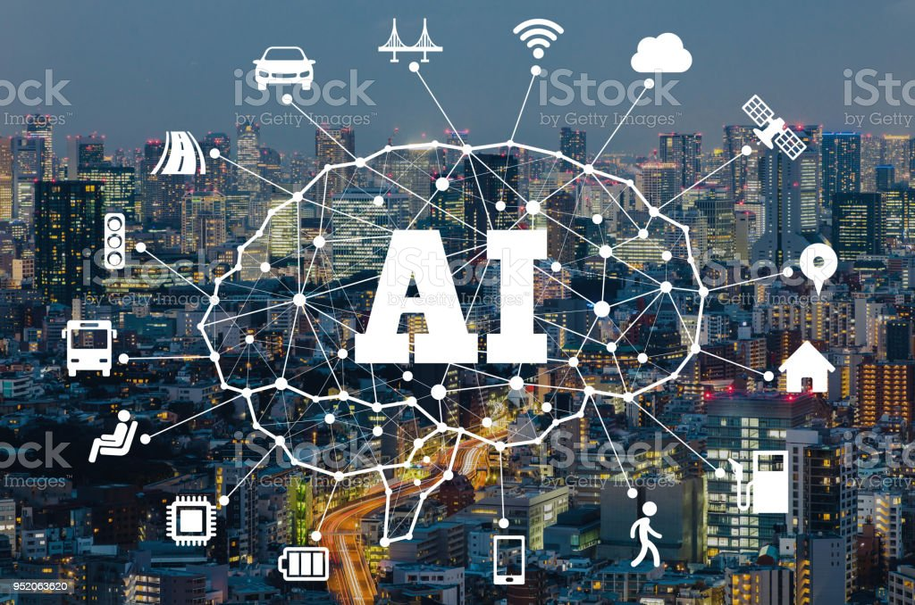 AI (Aritificial Intelligence) and transportation. stock photo