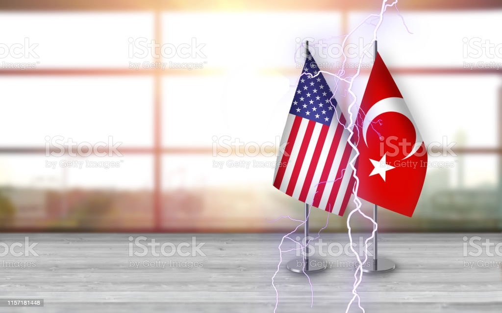 3D USA and turkish flags with metallic pole, standing together on a...