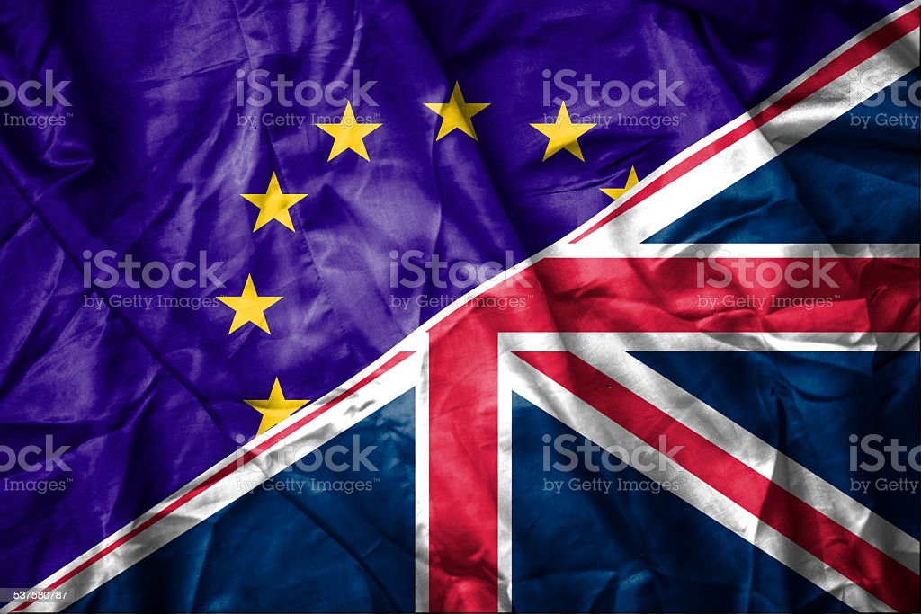 EU and UK flag stock photo