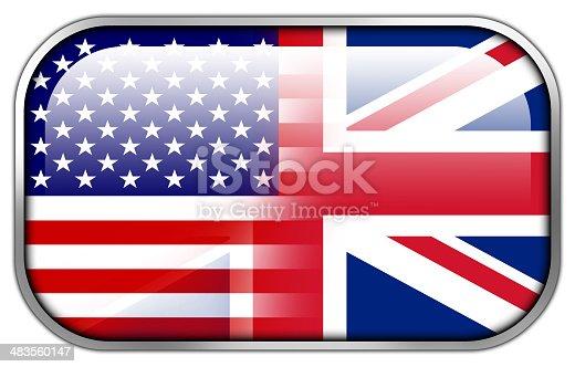 istock USA and UK Flag rectangle glossy button 483560147