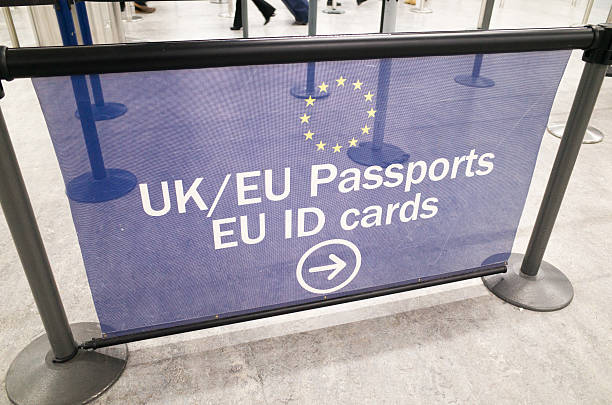 EU and UK Passport Control Signage at London Gatwick Airport stock photo