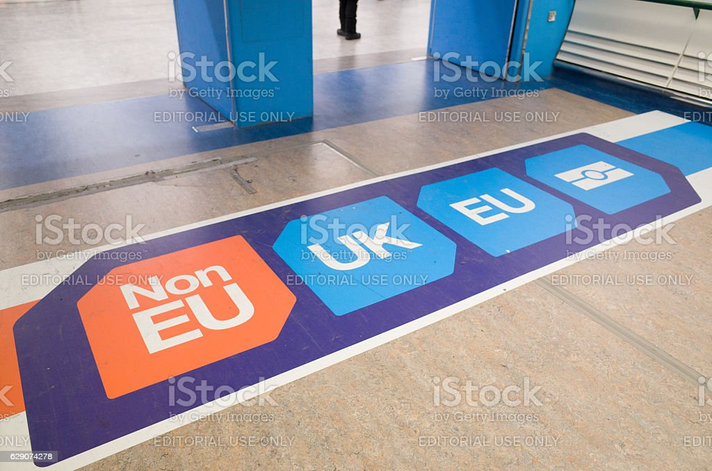 EU and UK Passport Control Signage at London Gatwick Airport royalty-free stock photo