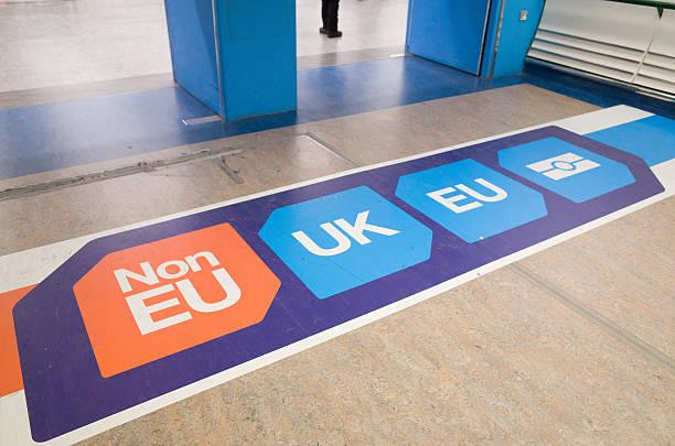 EU and UK Passport Control Signage at London Gatwick Airport stock photo
