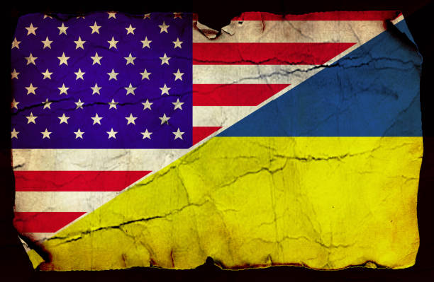 usa and ukrainian flag - ukraine stock pictures, royalty-free photos & images