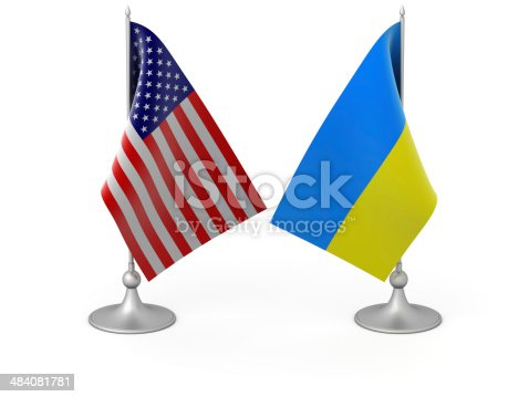 3D image of isolated Ukrainian and USA flags.