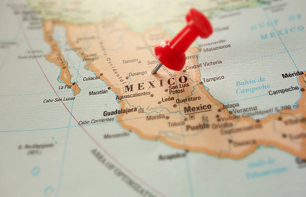 And up close picture of Mexico on a map stock photo
