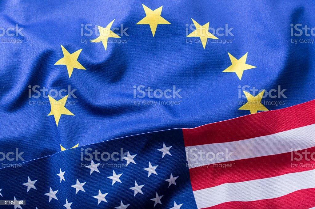 EU and USA. Euro flag and USA flag EU and USA. Euro flag and USA flag. USA Stock Photo