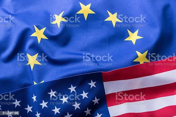 Eu And Usa Euro Flag And Usa Flag Stock Photo - Download Image Now