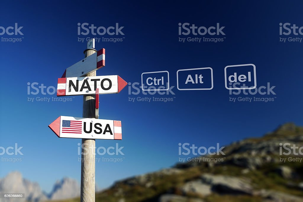 NATO and USA on signpost, quit NATO concept stock photo