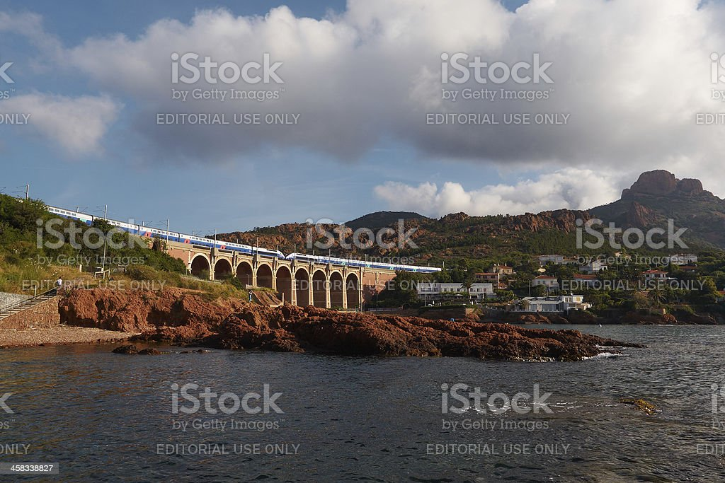 TGV and viaduct stock photo