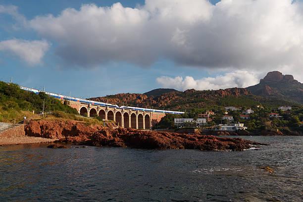 TGV and viaduct stock photo