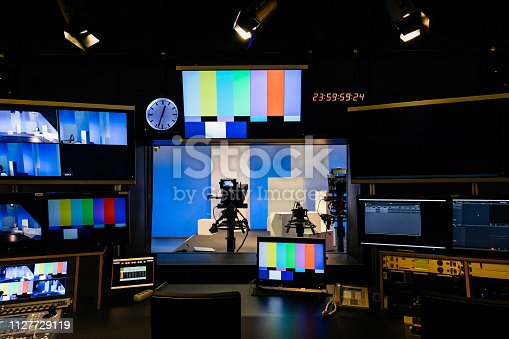 An array of tv and video equipment in a university studio for students to learn with.