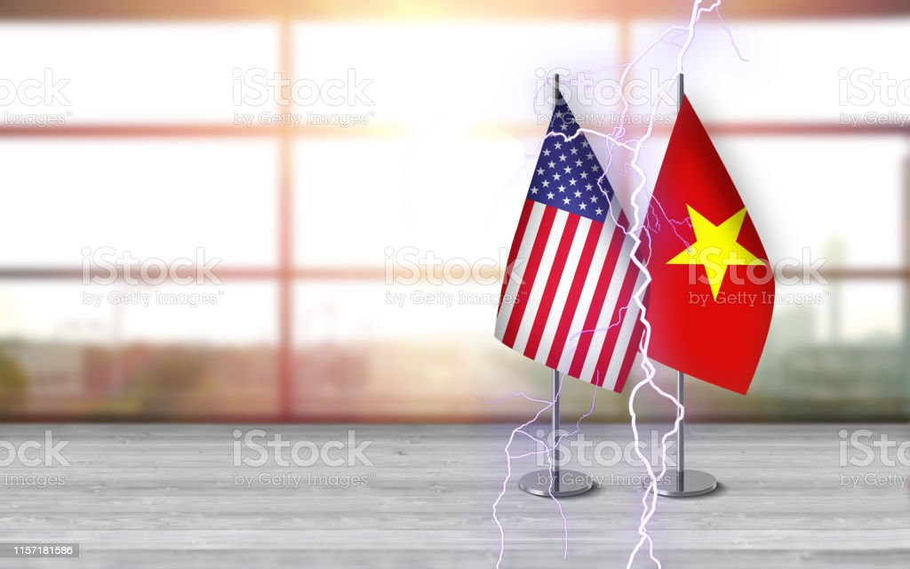 3D USA and vietnamese flags with metallic pole, standing together on...