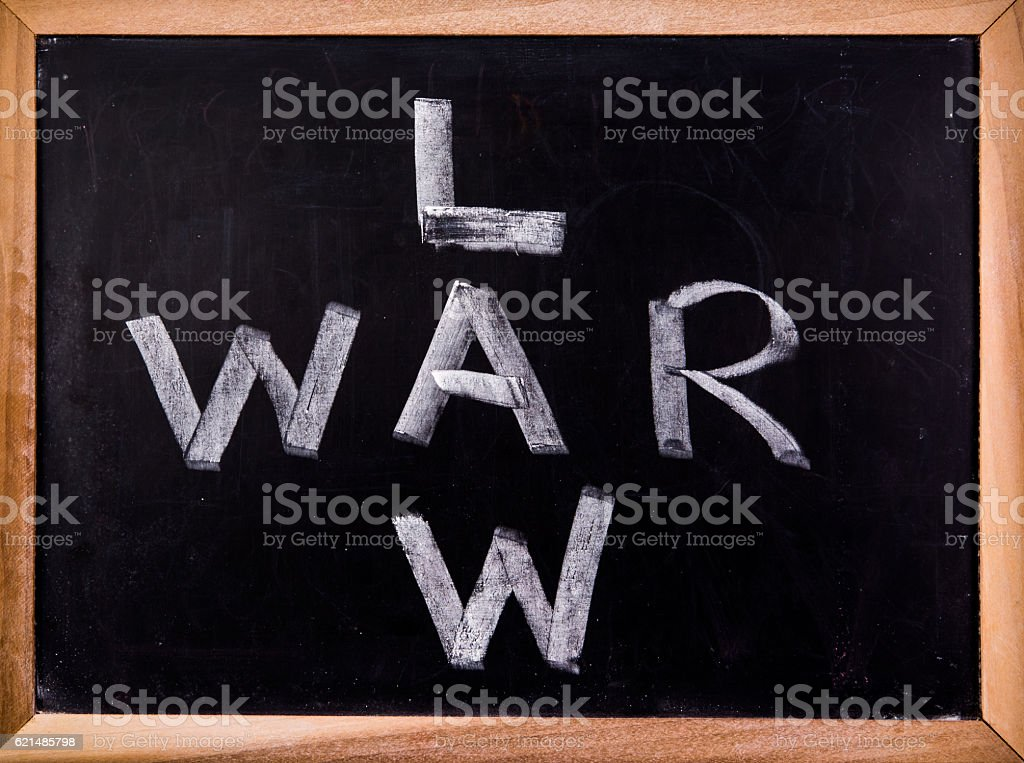 LAW and WAR word on blackboard Lizenzfreies stock-foto