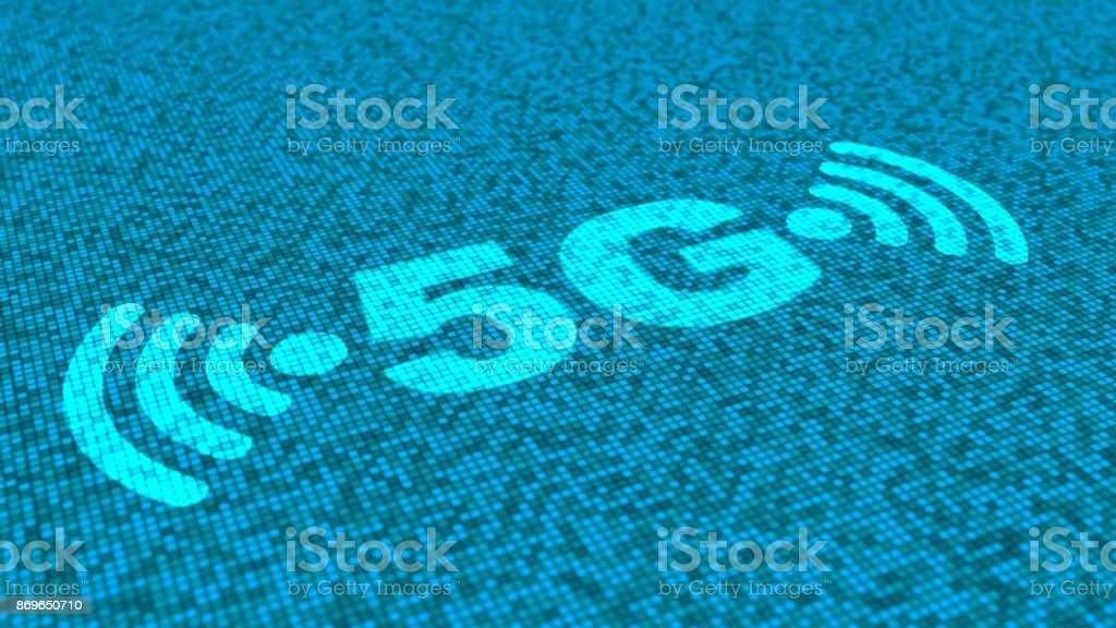 5G and wifi symbols in blue on a square matrix background stock photo