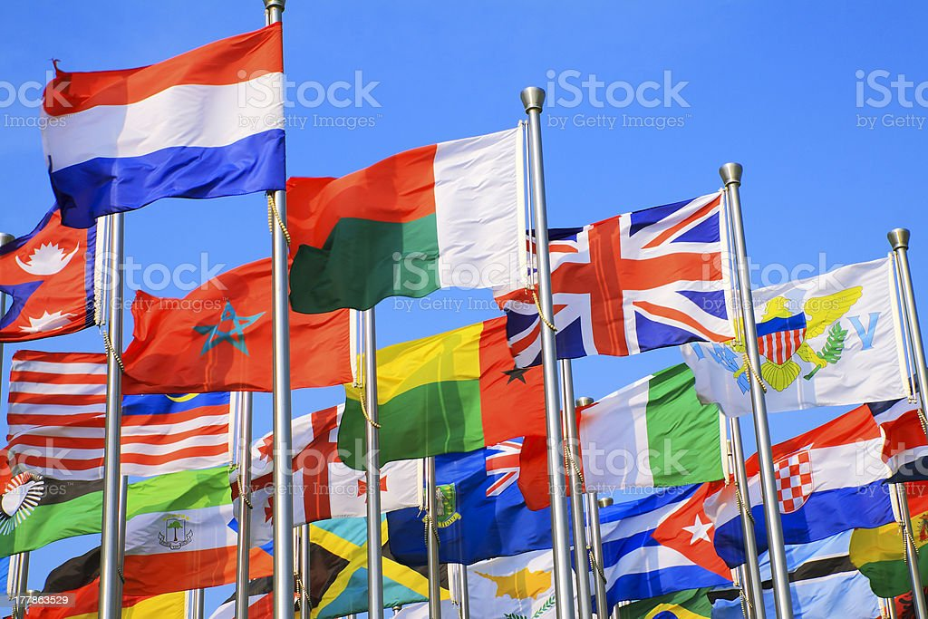 UK and world national flags is flying stock photo