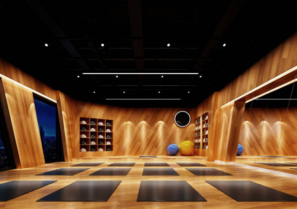 GYM and Yoga Saloon. 3D Rendering. GYM and Yoga Saloon. 3D Rendering. yoga studio stock pictures, royalty-free photos & images