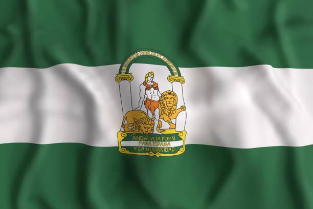 bandera de andalucía - andalusian flag fotografías e imágenes de stock