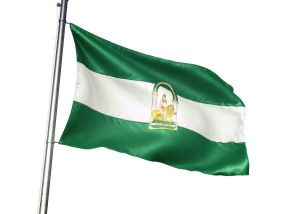 andalucia de españa bandera ondeando aislado sobre fondo blanco - andalusian flag fotografías e imágenes de stock