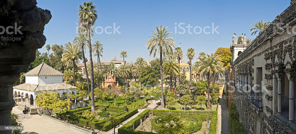 Andalusia Spain idyllic Moorish garden Real Alcázar palace Seville panorama royalty-free stock photo