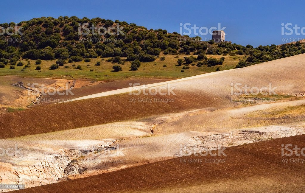 Andalusian agricultural landscape with rolling hills, red earth, Andalusia, Spain stock photo