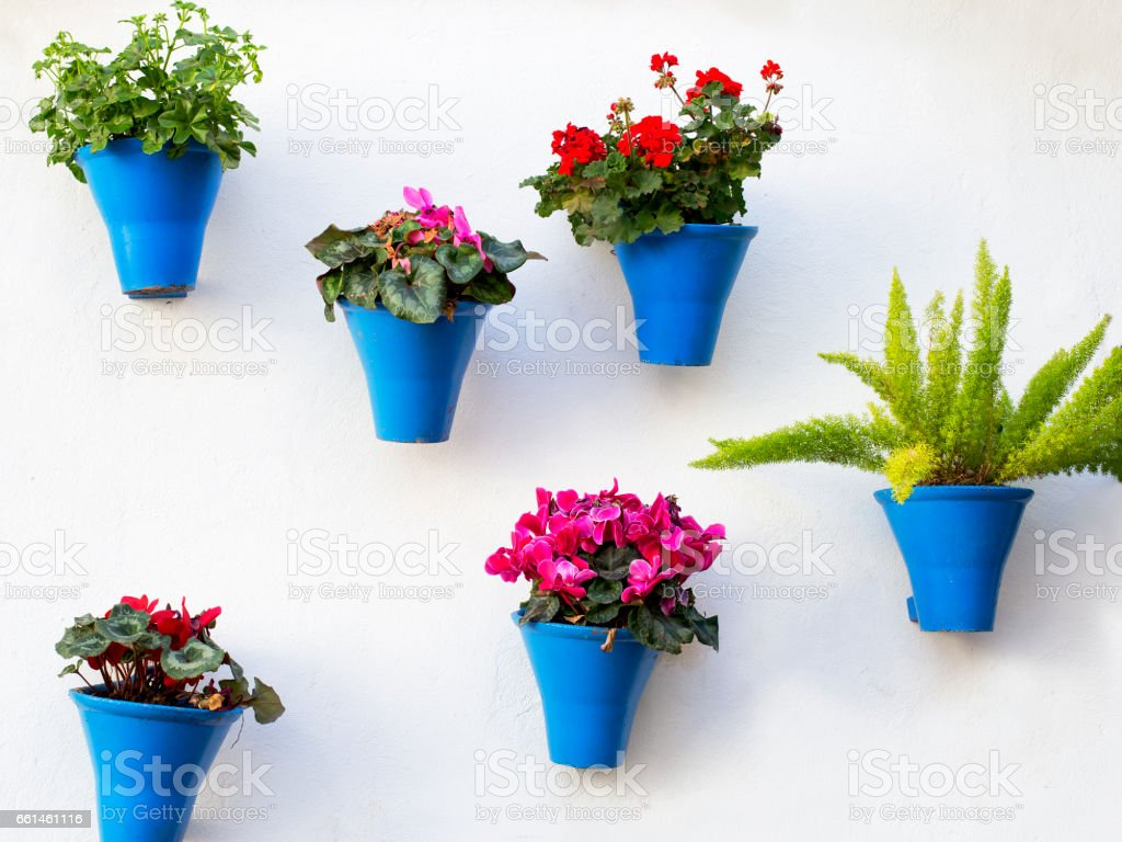 andalusian decoration with typical flowers pots stock photo