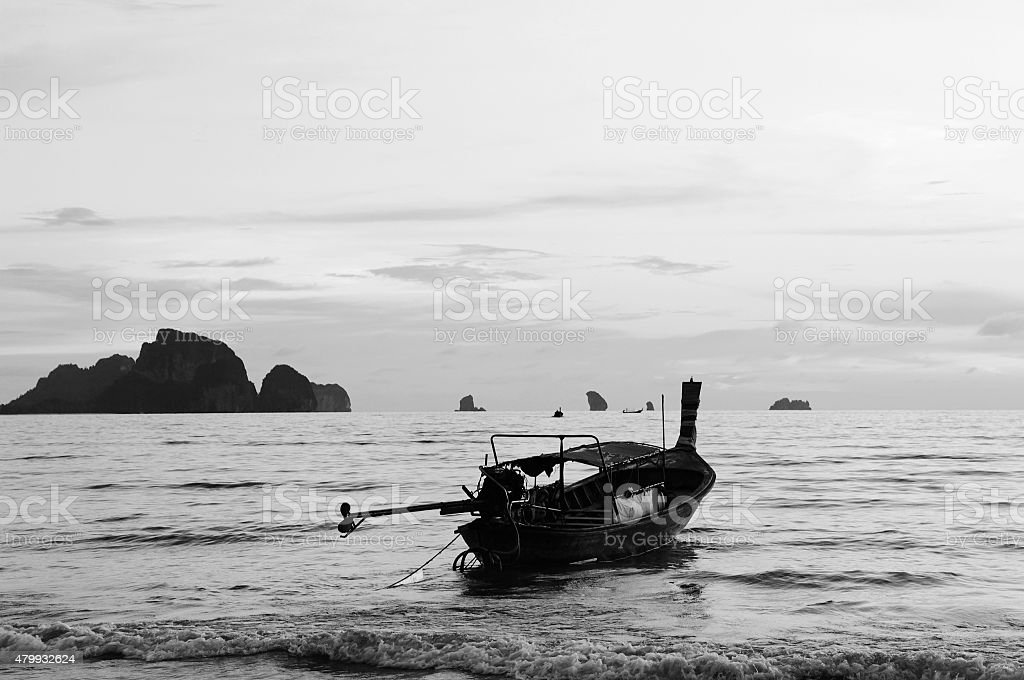 Andaman sea, Ao Nang beach, Thailand, black-white image. stock photo