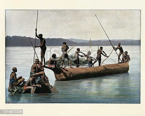 Antique colorized photograph of Andamanese tribes fishing with bows, Andaman Islands. 19th Century
