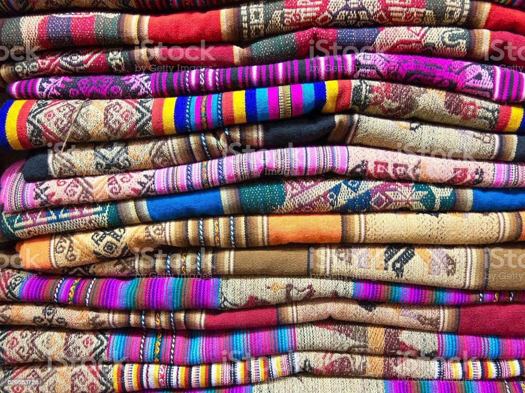 Andean blankets in a market, La Paz, Bolivia. stock photo