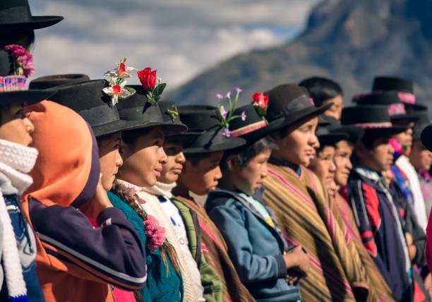 Andean children in the school yard stock photo