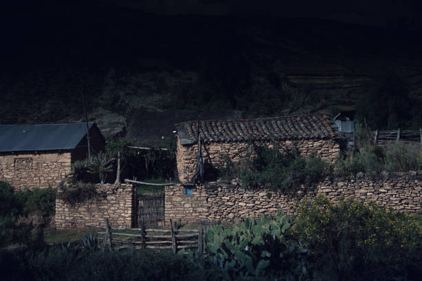 Andean country house stock photo