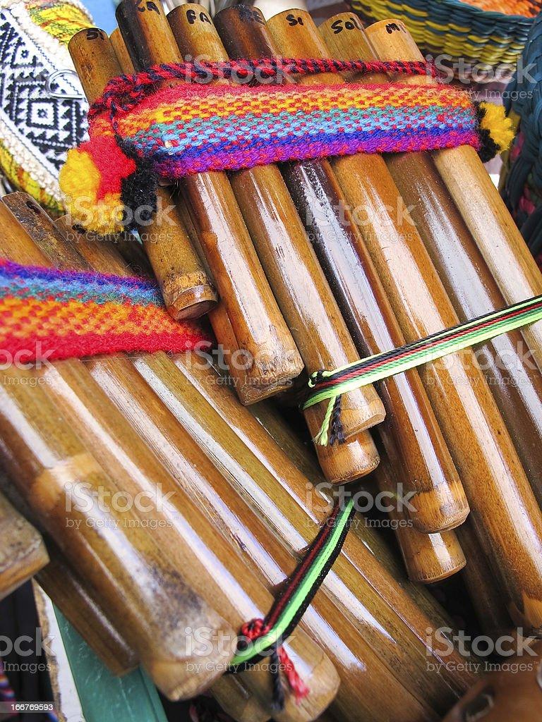 Andean flutes, Market of Santiago de Chile stock photo